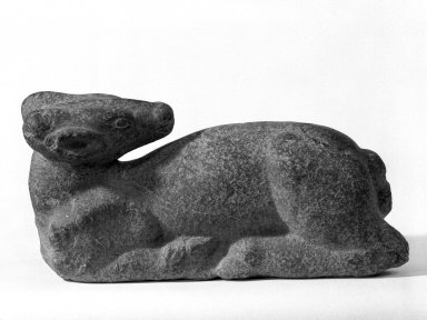 Sri Deb. <em>Reclining Deer</em>, 8th-9th century C.E. Green stone, highest point: 7 3/4 in.  (19.7 cm);. Brooklyn Museum, Gift of Dr. and Mrs. Robert Feinberg, 79.180.2. Creative Commons-BY (Photo: Brooklyn Museum, 79.180.2_bw.jpg)