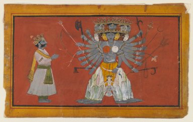 Indian. <em>Vishvarupa: The Cosmic Form of Krishna</em>, ca. 1820. Opaque watercolor and gold on paper, sheet: 3 3/4 x 6 1/8 in.  (9.5 x 15.6 cm). Brooklyn Museum, Anonymous gift, 79.186.1 (Photo: Brooklyn Museum, 79.186.1_IMLS_PS3.jpg)