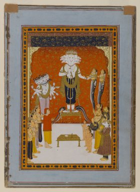 Indian. <em>Devotions to Nagadevata</em>, ca. 1790. Opaque watercolor and gold on paper, sheet: 11 3/16 x 8 1/16 in.  (28.4 x 20.5 cm). Brooklyn Museum, Anonymous gift, 79.186.2 (Photo: Brooklyn Museum, 79.186.2_IMLS_PS4.jpg)