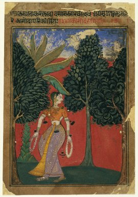Indian. <em>Kamoda Ragini, Page from a Ragamala Series</em>, ca. 1605-1610. Opaque watercolor on paper, sheet: 7 15/16 x 5 1/2 in.  (20.2 x 14.0 cm). Brooklyn Museum, Gift of Amy and Robert L. Poster, 79.187.1 (Photo: Brooklyn Museum, 79.187.1_IMLS_SL2.jpg)