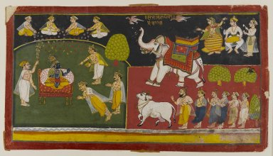 <em>Unidentified Scene, Aurangabad School</em>, ca. 1725. Opaque watercolors on paper, Overall: 7 1/2 x 13 3/4 in. (19.1 x 34.9 cm). Brooklyn Museum, Gift of Amy and Robert L. Poster, 79.187.2 (Photo: Brooklyn Museum, 79.187.2_IMLS_PS4.jpg)