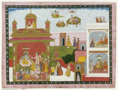 Indian. <em>Unidentified Scene</em>, ca. 1825. Opaque watercolor and gold on paper, sheet: 10 5/8 x 14 in.  (27.0 x 35.6 cm). Brooklyn Museum, Gift of Amy and Robert L. Poster, 79.187.3 (Photo: Brooklyn Museum, 79.187.3_IMLS_SL2.jpg)