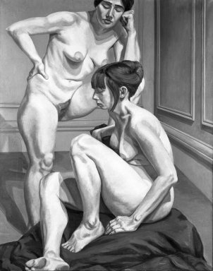Philip Pearlstein (American, born 1924). <em>Two Nudes</em>, 1964. Oil on canvas, canvas: 71 1/4 x 57 in.  (181.0 x 144.8 cm). Brooklyn Museum, Gift of Mr. and Mrs. Edward H. Merrin, 79.193. © artist or artist's estate (Photo: Brooklyn Museum, 79.193_bw.jpg)