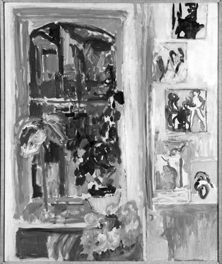 Nell Blaine (American, 1922-1996). <em>Studio Window</em>, 1955. Oil on canvas, canvas: 46 x 40 in.  (116.8 x 101.6 cm). Brooklyn Museum, Gift of Elinor Poindexter, 79.194.1. © artist or artist's estate (Photo: Brooklyn Museum, 79.194.1_bw.jpg)