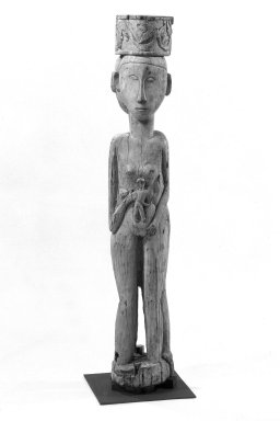 Dayak. <em>Figure (Hampatong) Representing a Male and Female</em>, early 20th century. Wood, pigment, 53 3/8 in. (135.6 cm). Brooklyn Museum, Gift of Mr. and Mrs. Gustave Schindler, 79.2.1. Creative Commons-BY (Photo: Brooklyn Museum, 79.2.1_front_bw.jpg)
