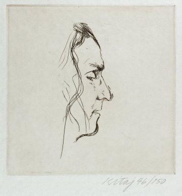 Ronald B. Kitaj (American, 1932 - 2007). <em>Robert Duncan</em>, 1971. Etching, Image: 6 1/8 x 6 1/8 in. (15.5 x 15.5 cm). Brooklyn Museum, Gift of Eddie Green, 79.206.17. © artist or artist's estate (Photo: Brooklyn Museum, 79.206.17_PS4.jpg)
