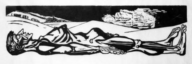 Leonard Baskin (American, 1922-2000). <em>Untitled (Male Nude)</em>, ca. 1959. Woodcut in black and white, sheet: 65 3/4 x 19 1/8 in.  (167.0 x 48.6 cm);. Brooklyn Museum, Gift of Mr. and Mrs. Sid Feinberg, 79.22.4. © artist or artist's estate (Photo: Brooklyn Museum, 79.22.4_bw.jpg)