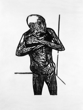 Leonard Baskin (American, 1922-2000). <em>Terrified Old Man</em>, ca. 1950. Woodcut, sheet: 39 7/8 x 28 5/8 in.  (101.3 x 72.7 cm);. Brooklyn Museum, Gift of Mr. and Mrs. Sid Feinberg, 79.22.6. © artist or artist's estate (Photo: Brooklyn Museum, 79.22.6_bw.jpg)