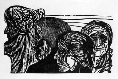 Leonard Baskin (American, 1922-2000). <em>Untitled (Four Heads)</em>, 1949. Woodcut, sheet: 27 1/8 x 39 7/8 in.  (68.9 x 101.3 cm);. Brooklyn Museum, Gift of Mr. and Mrs. Sid Feinberg, 79.22.7. © artist or artist's estate (Photo: Brooklyn Museum, 79.22.7_bw.jpg)