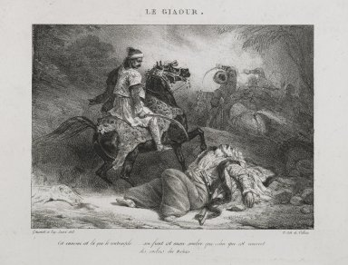 Théodore Géricault (French, 1791-1829). <em>Le Giaour</em>, 1823. Lithograph on wove paper, 5 15/16 x 8 3/16 in. (15.1 x 20.8 cm). Brooklyn Museum, Designated Purchase Fund, 79.228.2 (Photo: Brooklyn Museum, 79.228.2_PS6.jpg)