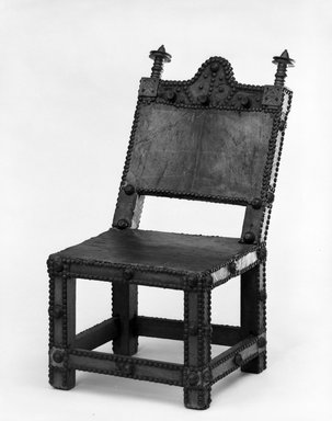 Akan. <em>Chair (Asipim)</em>, late 19th century. Wood, brass, 26 1/2 x 13 1/2 in. (67.3 x 34.3 cm). Brooklyn Museum, Gift of Franklin H. Williams, 79.237.1. Creative Commons-BY (Photo: Brooklyn Museum, 79.237.1_front_bw.jpg)