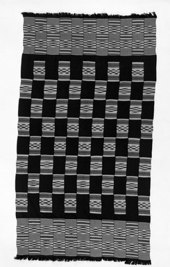 Akan. <em>Kente Cloth</em>. Rayon, silk, 76 1/4 x 42 1/2 in. (193.7 x 108 cm). Brooklyn Museum, Gift of Franklin H. Williams, 79.237.2. Creative Commons-BY (Photo: Brooklyn Museum, 79.237.2_bw.jpg)
