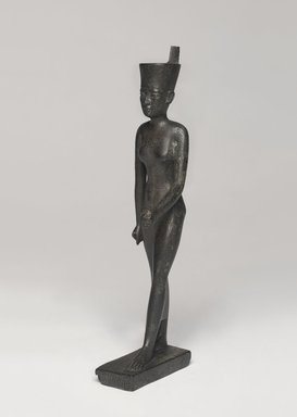 <em>Statuette of the Goddess Neith</em>, 664 B.C.E.-525 B.C.E. Bronze, 9 5/8 x 2 x 2 3/4 in. (24.4 x 5.1 x 7 cm). Brooklyn Museum, Gift of William Bauer, 79.242. Creative Commons-BY (Photo: , 79.242_PS9.jpg)