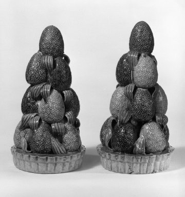 <em>Fruit Pyramids, One of Pair</em>, 1662-1722. Porcelain (stoneware) with three-color (sancai), 6 1/2 x 3 1/4 in. (16.5 x 8.3 cm). Brooklyn Museum, Gift of Robert S. Anderson, 79.247.1. Creative Commons-BY (Photo: , 79.247.1_79.247.2_bw.jpg)
