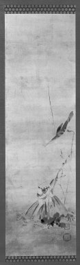 Kano Naonobu (Japanese, 1607-1650). <em>Wagtail on a Fallen Lotus Leaf</em>, 17th century. Hanging Scroll, ink on paper, Image: 37 3/4 x 11 1/8 in. (95.9 x 28.3 cm). Brooklyn Museum, Gift of Dr. Frederick Baekeland, 79.249.1 (Photo: Brooklyn Museum, 79.249.1_bw_IMLS.jpg)