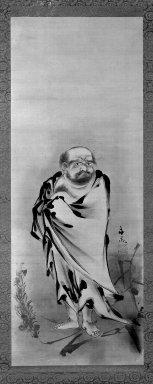 Tani Buncho (Japanese, 1763-1840). <em>Bodhidarma Crossing the Yangtze River on a Reed</em>, early 19th century. Hanging scroll, ink on silk, Image: 37 1/4 x 14 1/8 in. (94.6 x 35.9 cm). Brooklyn Museum, Gift of Dr. and Mrs. Frederick Baekeland, 79.249.2 (Photo: Brooklyn Museum, 79.249.2_bw_IMLS.jpg)
