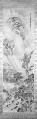 Hanko Fukuda (Japanese, 1804-1864). <em>Mountain Landscape in a Rainstorm</em>, dated August 1857. Hanging scroll, ink and light color on silk, Image: 50 x 15 in. (127 x 38.1 cm). Brooklyn Museum, Gift of Dr. Frederick Baekeland, 79.249.3 (Photo: Brooklyn Museum, 79.249.3_bw_IMLS.jpg)
