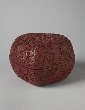 <em>Covered Box in the Form of a Peach</em>, early 18th century. Carved lacquer, 4 1/8 x 6 1/2 in. (10.5 x 16.5 cm). Brooklyn Museum, Gift of Dr. Andrew Cole, 79.252.1a-b. Creative Commons-BY (Photo: Brooklyn Museum, 79.252.1_overall_PS11.jpg)