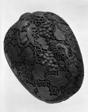 <em>Box</em>, 1736-1795. Carved cinnabar lacquer, 2 7/8 x 5 1/2 in. (7.3 x 14 cm). Brooklyn Museum, Gift of Dr. Andrew Cole, 79.252.2. Creative Commons-BY (Photo: Brooklyn Museum, 79.252.2_bw.jpg)
