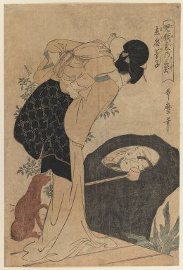 Kitagawa Utamaro (Japanese, 1753-1806). <em>The Priest Huiyuan, from the series Three Laughters at Children's Playful Spirits</em>, 1802. Color woodblock print on paper, 15 x 10 1/8 in. (38.1 x 25.7 cm). Brooklyn Museum, Gift of Dr. and Mrs. Maurice H. Cottle, 79.253.1 (Photo: Brooklyn Museum, 79.253.1_IMLS_PS3.jpg)