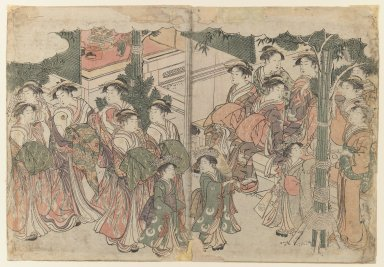 Kitagawa Utamaro (Japanese, 1753-1806). <em>First Costumes of the New Year, from the album Colors of the Triple Dawn</em>, 1787. Color woodblock print on paper, 10 1/4 x 14 7/8 in. (26 x 37.8 cm). Brooklyn Museum, Gift of Dr. and Mrs. Maurice H. Cottle, 79.253.3 (Photo: Brooklyn Museum, 79.253.3_IMLS_PS3.jpg)