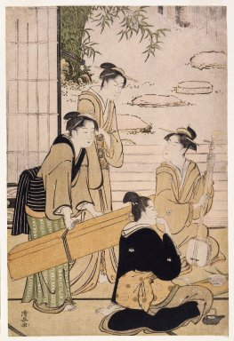 Torii Kiyonaga (Japanese, 1752-1815). <em>A Party in an Open Room Overlooking a Garden, from the series Contest of Contemporary Beauties of the Pleasure Quarters</em>, ca. 1783-1784. Color woodblock print on paper, 15 x 10 in. (48.0 x 25.5cm). Brooklyn Museum, Gift of Dr. and Mrs. Maurice H. Cottle, 79.253.4 (Photo: Brooklyn Museum, 79.253.4_IMLS_SL2.jpg)