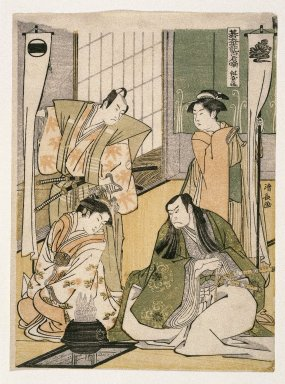 Kiyonaga (Japanese). <em>Scene at a Dyer's Shop, from The Tale of Shiraishi, a Latter-day Taiheiki</em>, 1785. Color woodblock print on paper, 10 1/2 x 7 3/4 in. (26.7 x 19.7 cm). Brooklyn Museum, Gift of Dr. and Mrs. Maurice H. Cottle, 79.253.5 (Photo: Brooklyn Museum, 79.253.5_IMLS_SL2.jpg)