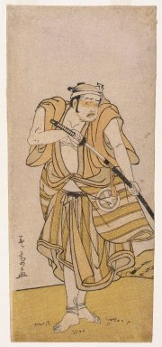 Katsukawa Shunsho (Japanese, 1726-1793). <em>Actor</em>, 18th century. Color woodblock print on paper, 11 1/2 x 5 in. (29.2 x 12.7 cm). Brooklyn Museum, Gift of Dr. and Mrs. Maurice H. Cottle, 79.253.6 (Photo: Brooklyn Museum, 79.253.6_IMLS_SL2.jpg)