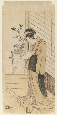 Attributed to Utagawa Toyohiro (Japanese, 1773-1829). <em>Lady Reading a Letter</em>, 1790. Color woodblock print on paper, 12 1/4 x 5 3/4 in. (31.1 x 14.6 cm). Brooklyn Museum, Gift of Dr. and Mrs. Maurice H. Cottle, 79.253.7 (Photo: Brooklyn Museum, 79.253.7_IMLS_PS3.jpg)
