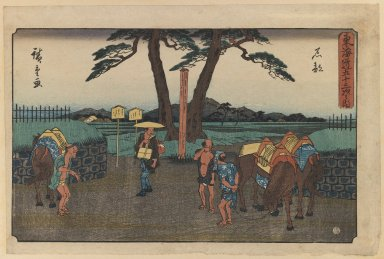Utagawa Hiroshige (Ando) (Japanese, 1797-1858). <em>Ishibe, from the series Fifty-three Stations of the Tōkaidō Road</em>, ca. 1841-1844. Color woodblock print on paper, 9 x 13 5/8 in. (22.9 x 34.6 cm). Brooklyn Museum, Gift of Dr. and Mrs. Maurice H. Cottle, 79.253.8 (Photo: Brooklyn Museum, 79.253.8_IMLS_PS3.jpg)