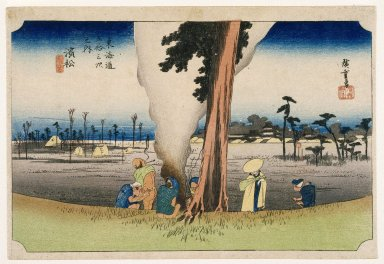Utagawa Hiroshige (Ando) (Japanese, 1797-1858). <em>Hamamatsu, from the series Fifty-three Stations of the Tōkaidō Road</em>, ca. 1834. Color woodblock print on paper, Sheet: 9 3/4 x 14 1/4 in. (24.8 x 36.2 cm). Brooklyn Museum, Gift of Mr. and Mrs. Maurice H. Cottle, 79.253.9 (Photo: Brooklyn Museum, 79.253.9_IMLS_SL2.jpg)