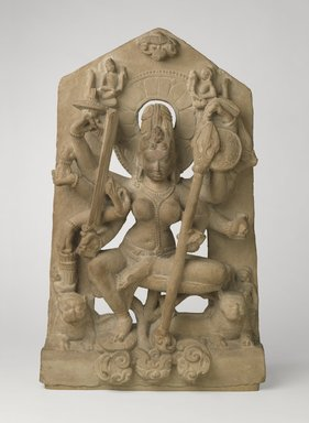 <em>Goddess Durga</em>, 8th century. Sandstone, 25 9/16 x 16 1/8 x 5 1/8 in., 68.5 lb. (65 x 41 x 13 cm, 31.07kg). Brooklyn Museum, Gift of Georgia and Michael de Havenon, 79.254.2. Creative Commons-BY (Photo: Brooklyn Museum, 79.254.2_front_PS6.jpg)