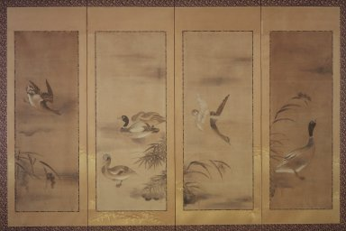 Attributed to Tawaraya Sotatsu (Japanese, active 1600-1643). <em>Waterfowl and Reeds</em>, 18th century or later. Four-panel screen, ink and light color on paper, 24 3/4 x 67 in. (62.9 x 170.2 cm). Brooklyn Museum, Gift of Dr. and Mrs. John Fleming, 79.256. Creative Commons-BY (Photo: Brooklyn Museum, 79.256.jpg)