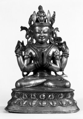<em>Four-Armed Avalokiteshvara</em>, 13th-15th century. Bronze, 10 1/4 x 7 1/4 in. (26 x 18.4 cm). Brooklyn Museum, Gift of Mr. and Mrs. Edward Greenberg, 79.259.2. Creative Commons-BY (Photo: Brooklyn Museum, 79.259.2_bw.jpg)