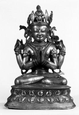 <em>Four-Armed Avalokiteshvara</em>, 13th-15th century. Bronze, 10 1/4 x 7 1/4 in. (26 x 18.4 cm). Brooklyn Museum, Gift of Mr. and Mrs. Edward Greenberg, 79.259.2. Creative Commons-BY (Photo: Brooklyn Museum, 79.259.2_bw.jpg)
