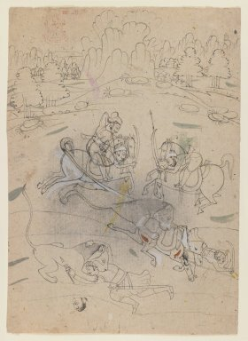 Indian. <em>Lion Hunt</em>, ca. 1800. Ink and color on paper, sheet: 9 5/8 x 6 7/8 in.  (24.4 x 17.5 cm). Brooklyn Museum, Gift of Marilyn W. Grounds, 79.260.10 (Photo: Brooklyn Museum, 79.260.10_IMLS_PS3.jpg)