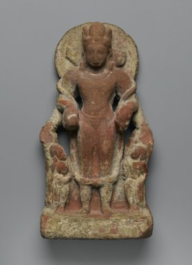 <em>Four-Faced Vishnu</em>, 4th-5th century. Red Sandstone, 10 1/4 in. (26 cm). Brooklyn Museum, Gift of Marilyn W. Grounds, 79.260.12. Creative Commons-BY (Photo: Brooklyn Museum, 79.260.12_PS2.jpg)