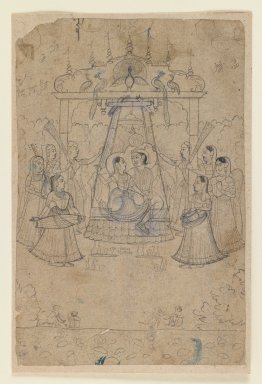 Indian. <em>Radha and Krishna on a Peacock Swing</em>, ca. 1800 or earlier. Ink on paper, sheet: 6 7/8 x 4 1/2 in.  (17.5 x 11.4 cm). Brooklyn Museum, Gift of Marilyn W. Grounds, 79.260.3 (Photo: Brooklyn Museum, 79.260.3_IMLS_PS3.jpg)