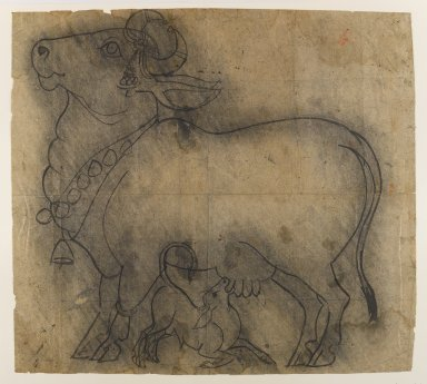 Indian. <em>Cow with Her Young</em>, ca. 1820. Ink on paper, pounced for transfer, sheet: 19 1/2 x 21 5/8 in.  (49.5 x 54.9 cm). Brooklyn Museum, Gift of Marilyn W. Grounds, 79.260.4 (Photo: Brooklyn Museum, 79.260.4_IMLS_PS4.jpg)