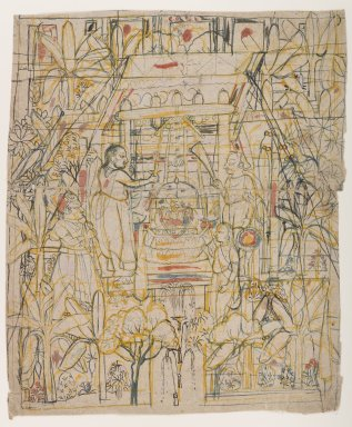Indian. <em>Worship of Shri Nathaji</em>, ca. 1820. Ink and color on paper, sheet: 10 1/2 x 8 3/4 in.  (26.7 x 22.2 cm). Brooklyn Museum, Gift of Marilyn W. Grounds, 79.260.6 (Photo: Brooklyn Museum, 79.260.6_IMLS_PS4.jpg)