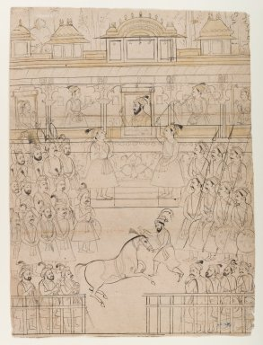 Indian. <em>Copy of a Shah Jahan Darbar Scene</em>, early 19th century. Ink and washes of color on paper, sheet: 13 x 9 5/8 in.  (33.0 x 24.4 cm). Brooklyn Museum, Gift of Marilyn W. Grounds, 79.260.7 (Photo: Brooklyn Museum, 79.260.7_IMLS_PS4.jpg)