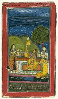 Indian. <em>Mandalika Ragini, Page from a Dispersed Ragamala Series</em>, mid 18th century. Opaque watercolors on paper, sheet: 12 1/4 x 7 in.  (31.1 x 17.8 cm). Brooklyn Museum, Gift of Dr. Farooq Jaffer, 79.266 (Photo: Brooklyn Museum, 79.266_IMLS_SL2.jpg)