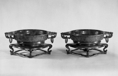 <em>Basin, One of Pair</em>, late 19th-early 20th century. Jade, each: 1 3/4 x 10 3/8 in. (4.4 x 26.4 cm). Brooklyn Museum, Gift of Paula Leipner, 79.269.1. Creative Commons-BY (Photo: , 79.269.1_79.269.2_bw.jpg)
