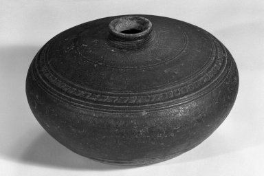 <em>Jar</em>, 12th-15th century. Bayon ware, 3 1/2 x 6 in. (8.9 x 15.2 cm). Brooklyn Museum, Gift of Dr. and Mrs. George Liberman, 79.270. Creative Commons-BY (Photo: Brooklyn Museum, 79.270_bw.jpg)