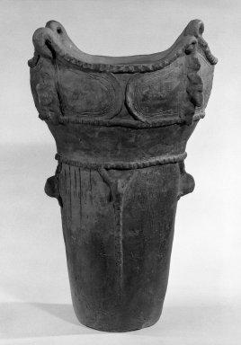 <em>Beaker</em>, ca. 2500 B.C. Earthenware, 15 3/8 x 11 1/4 in. (39.1 x 28.6 cm). Brooklyn Museum, Gift of Mr. and Mrs. Stanley Marcus, 79.278.4. Creative Commons-BY (Photo: Brooklyn Museum, 79.278.4_bw.jpg)