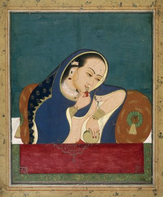 Indian. <em>Intoxicated Lady at a Window</em>, late 18th century. Opaque watercolor and gold on paper, sheet: 13 3/4 x 11 3/8 in.  (34.9 x 28.9 cm). Brooklyn Museum, Gift of Dr. and Mrs. Robert Walzer, 79.285 (Photo: Brooklyn Museum, 79.285_IMLS_SL2.jpg)