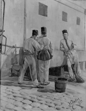 Henri-George-Jacques Chartier (French, 1859-1924). <em>Military Life: Cleaning the Uniform</em>, 1886. Oil on board, 10 3/4 x 8 5/8 in.  (27.3 x 21.9 cm). Brooklyn Museum, Gift of Burton Gordon, 79.288.2 (Photo: Brooklyn Museum, 79.288.2_bw.jpg)