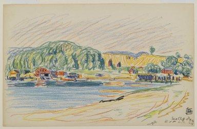 Oscar Florianus Bluemner (American, born Prussia, 1867-1938). <em>The Harbor At Sea Cliff, Long Island</em>, 1911. Crayon on cream, medium-weight, slightly textured wove paper, sheet: 7 3/16 x 11 1/4 in. (18.3 x 28.6 cm). Brooklyn Museum, Gift of Stuart Feld, 79.297.1 (Photo: Brooklyn Museum, 79.297.1_PS2.jpg)