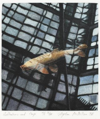 Stephen McMillan (American, born 1949). <em>Reflection and Carp</em>, 1978. Hand-colored aquatint on paper, sheet: 18 x 14 7/8 in.  (45.7 x 37.8 cm);. Brooklyn Museum, Gift of ADI Gallery, 79.37.13. © artist or artist's estate (Photo: Brooklyn Museum, 79.37.13_PS4.jpg)