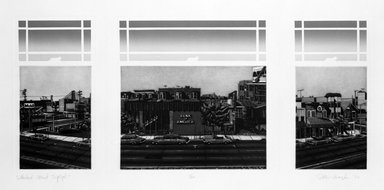 Peter Baczek (American, born 1945). <em>Lombard Street Triptych</em>, 1976. Etching, sheet: 17 x 19 1/2 in.  (43.2 x 49.5 cm);. Brooklyn Museum, Gift of ADI Gallery, 79.37.2. © artist or artist's estate (Photo: Brooklyn Museum, 79.37.2_bw.jpg)